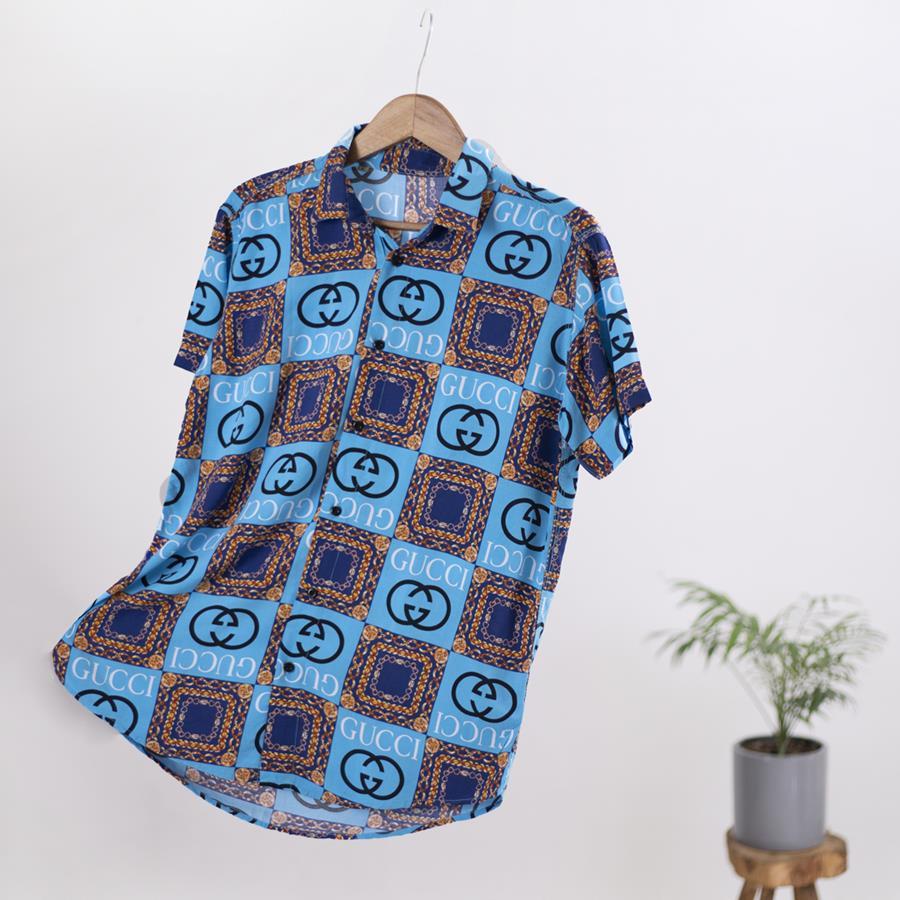 پیراهن مردانه هاوایی Recto مدل 1346_رنگ آبی روشن