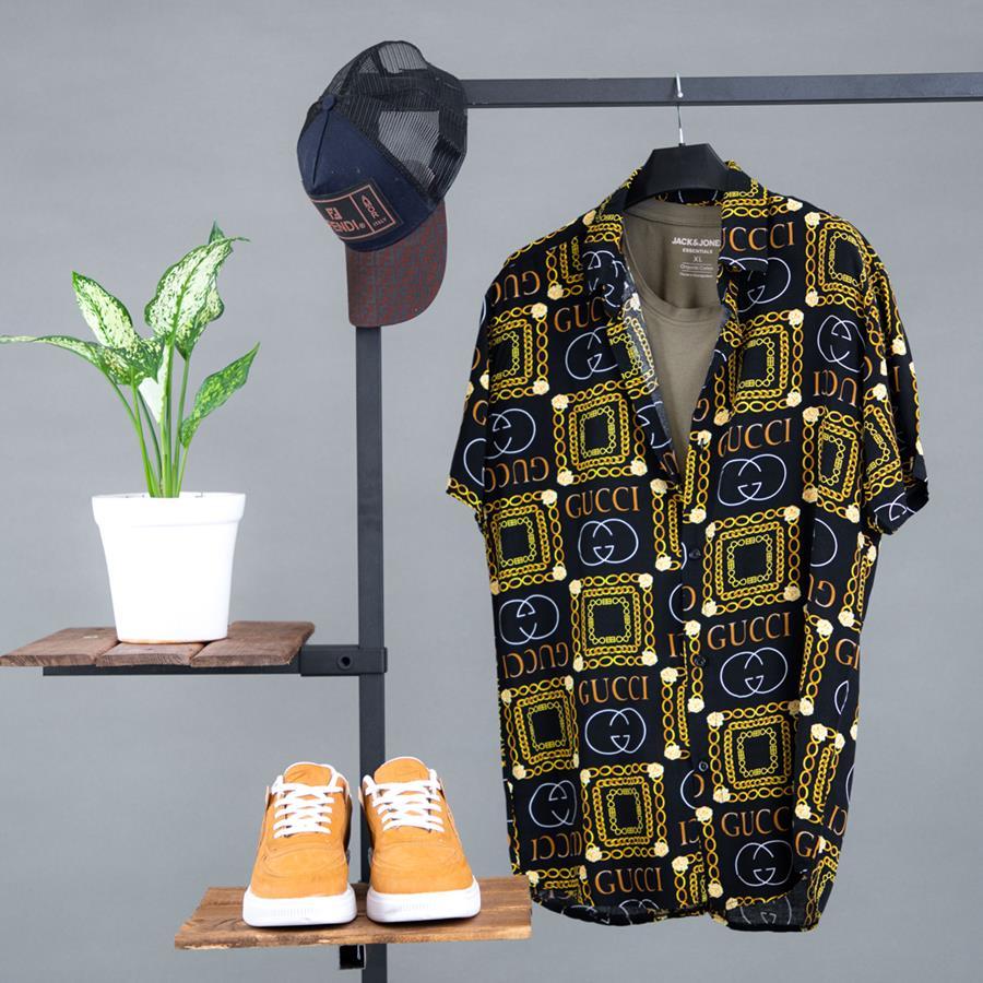 پیراهن هاوایی Piner مدل 1363_رنگ مشکی
