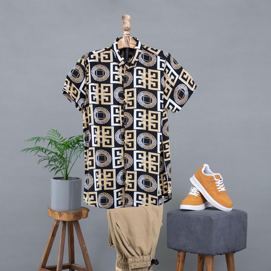 پیراهن هاوایی Rina مدل 1365_رنگ مشکی