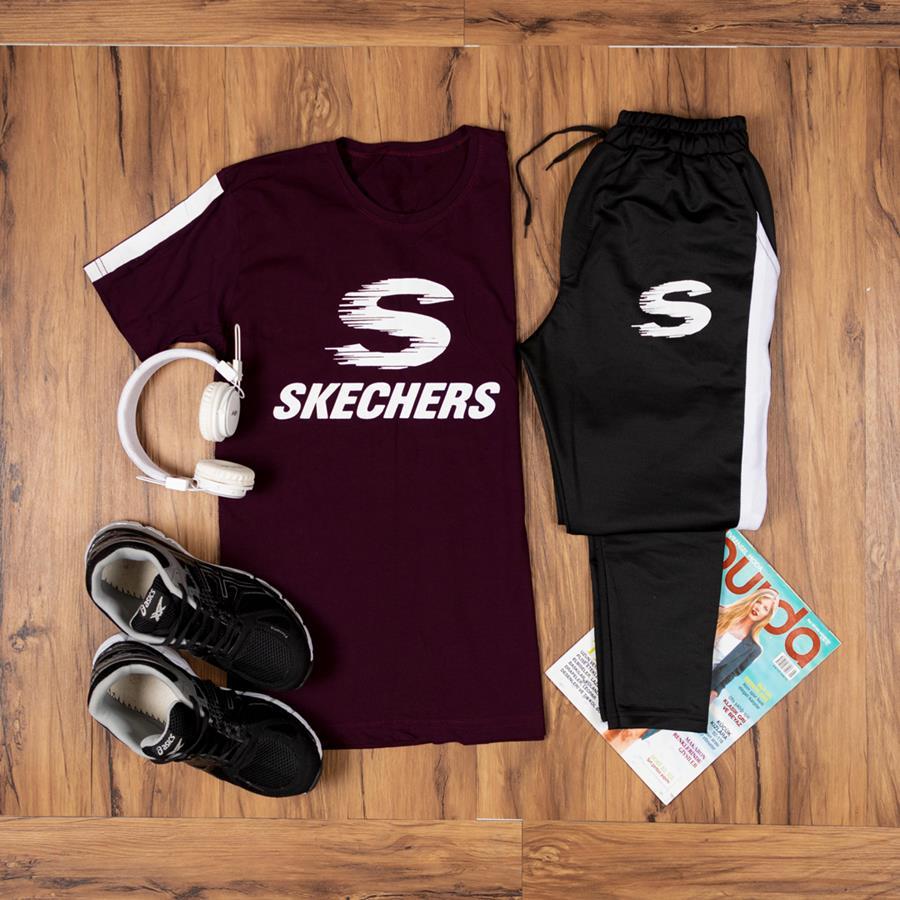 تیشرت شلوار Skechers مدل 1371_رنگ زرشکی