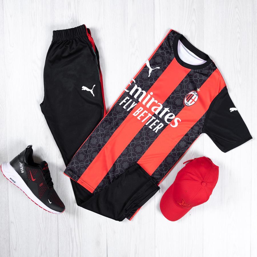 ست ورزشی FcMilano مدل 1388_رنگ قرمز