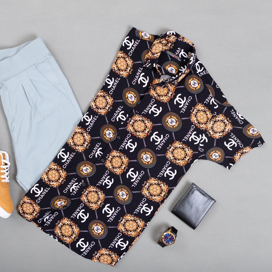 پیراهن هاوایی Chanerz مدل 1392_رنگ مشکی