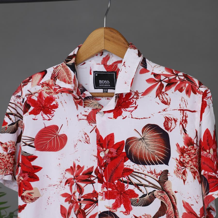 پیراهن هاوایی Radon مدل 1408_رنگ قرمز