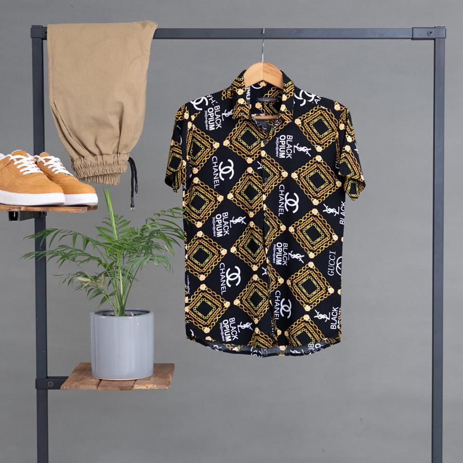 پیراهن هاوایی Golden مدل 1410_رنگ مشکی
