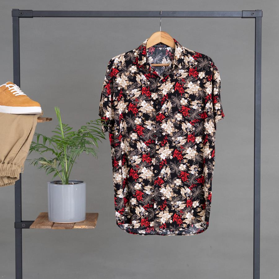 پیراهن هاوایی Liona مدل 1411_رنگ مشکی