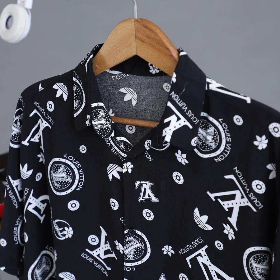 پیراهن هاوایی Lenvor مدل 1419_رنگ مشکی