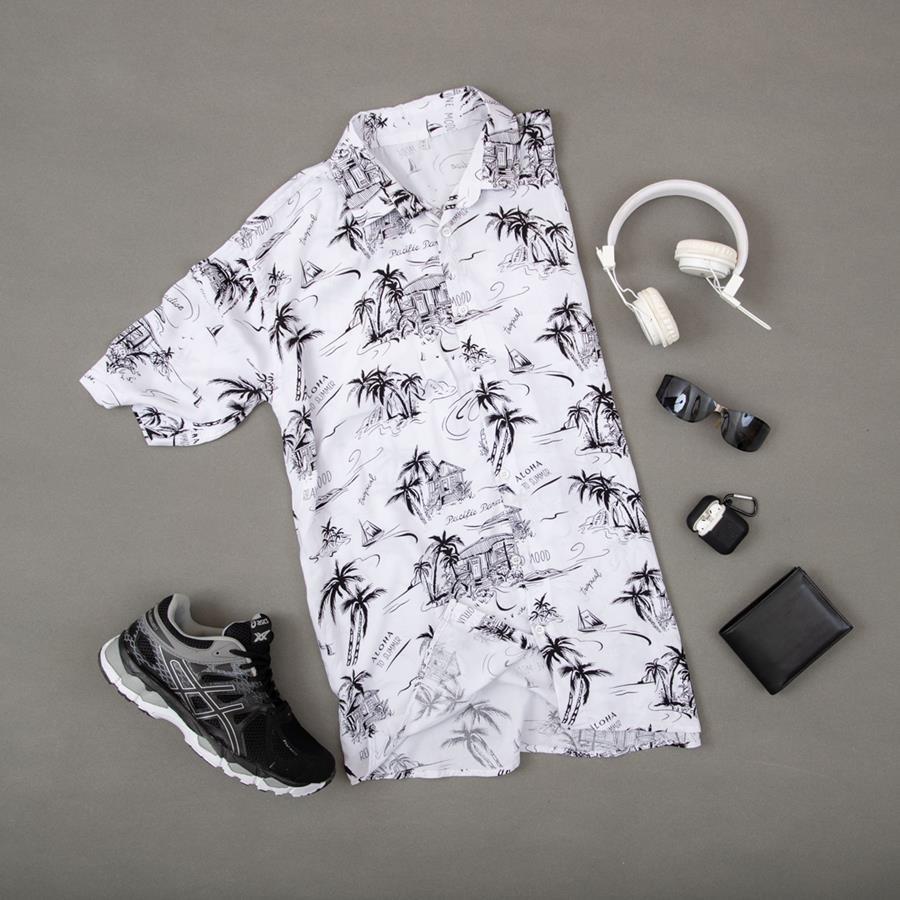 پیراهن هاوایی Nakhl مدل 1421_رنگ سفید