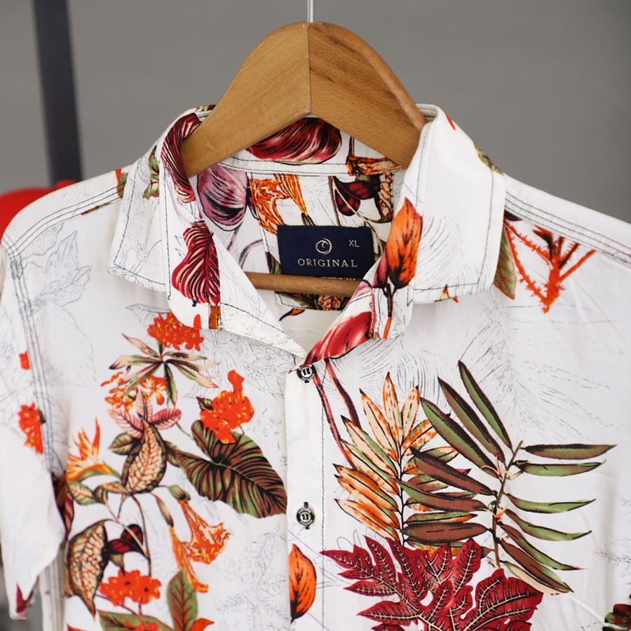 پیراهن هاوایی Golzar مدل 1422_رنگ سفید