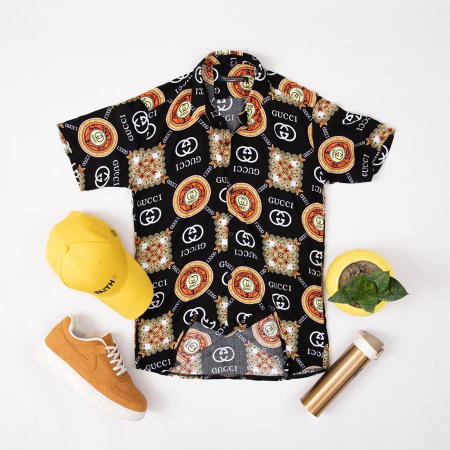 پیراهن هاوایی Brando مدل 1423_رنگ مشکی