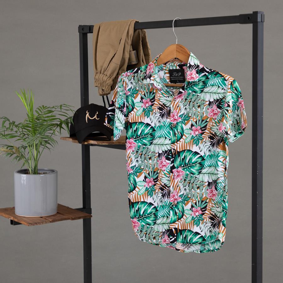 پیراهن هاوایی Haland مدل 1426_رنگ سبز دریایی روشن