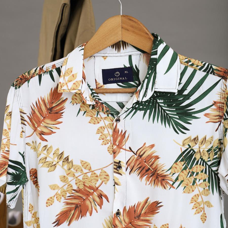 پیراهن هاوایی Diamonz مدل 1427_رنگ سفید