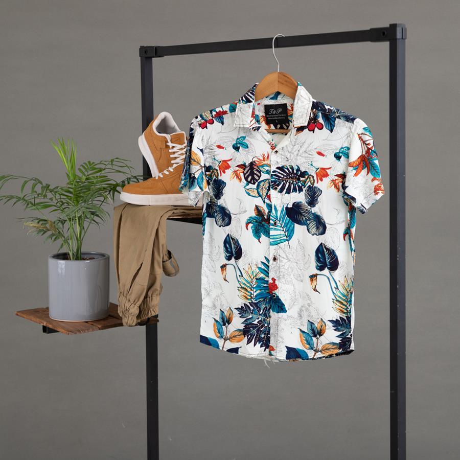 پیراهن هاوایی Karen مدل 1428_رنگ سفید