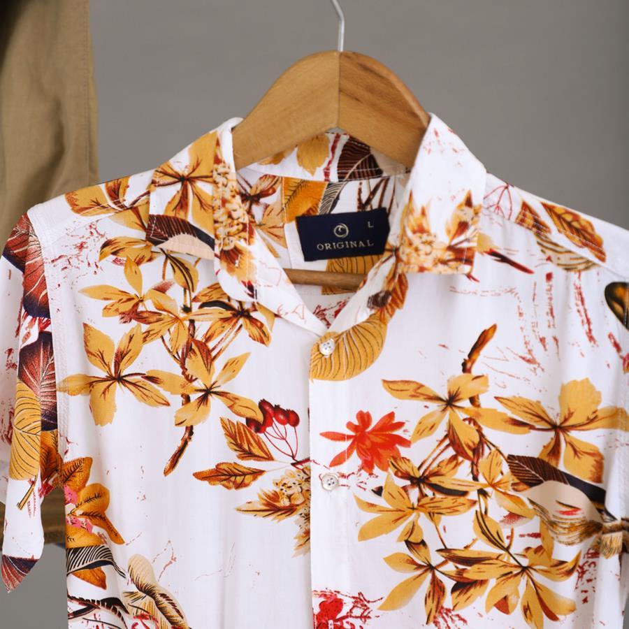 پیراهن هاوایی Kenzo مدل 1430_رنگ سفید