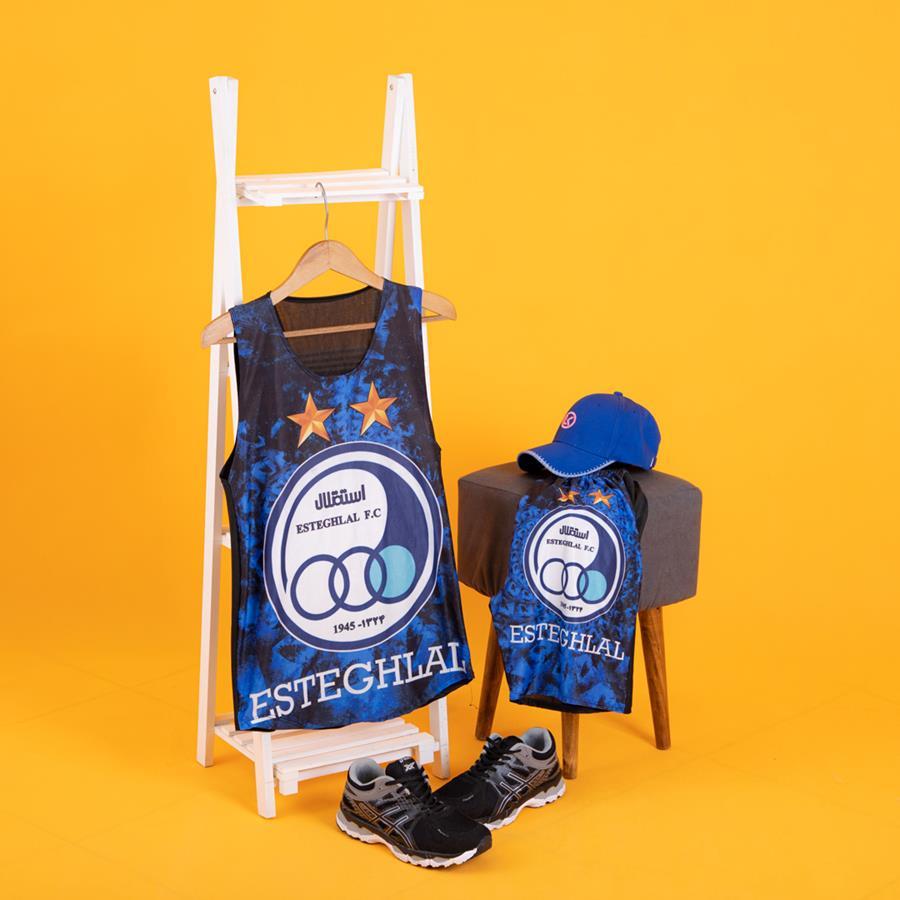 ست رکابی و شلوارک استقلال مدل 1440_رنگ آبی