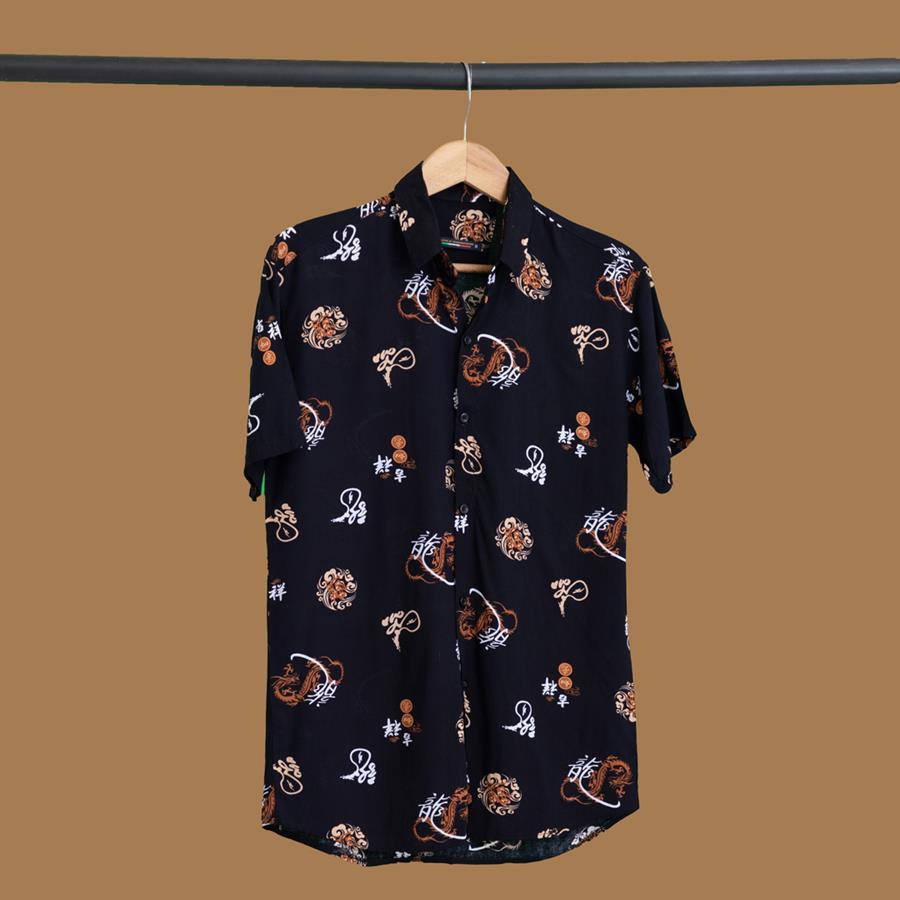 پیراهن هاوایی Rolans مدل 1447_رنگ مشکی