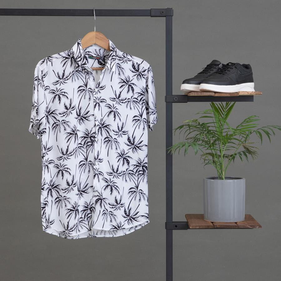 پیراهن هاوایی Loter مدل 1450_رنگ سفید
