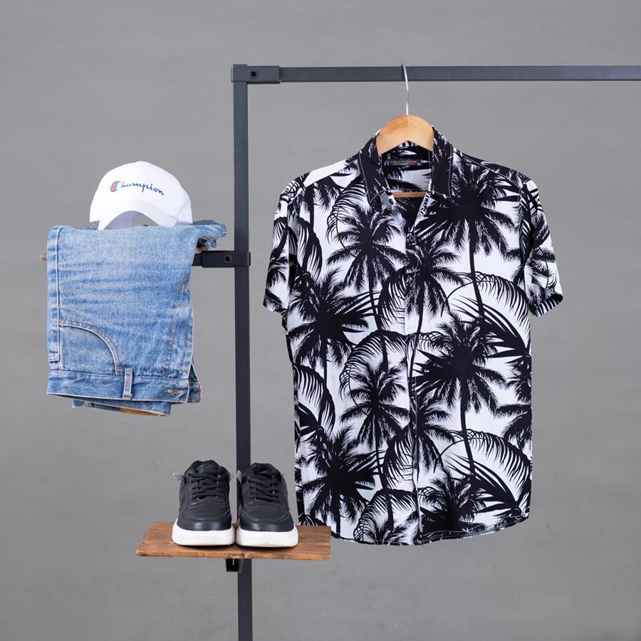 پیراهن هاوایی Morino مدل 1456_رنگ مشکی