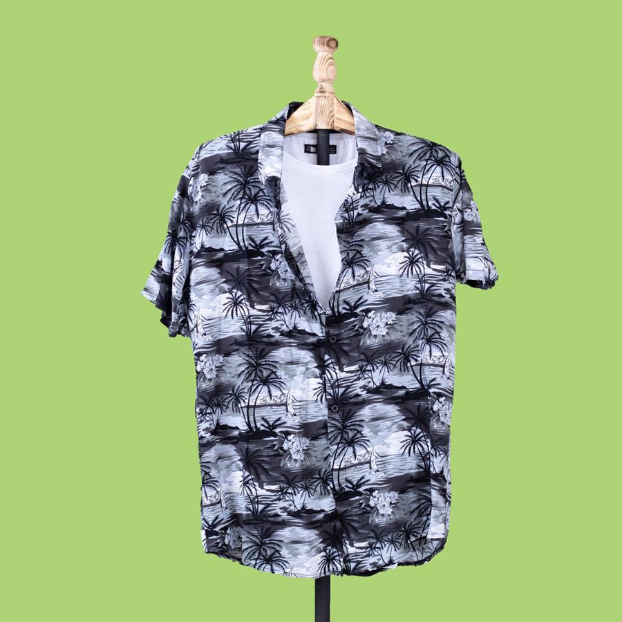 پیراهن هاوایی Naderz مدل 1457_رنگ مشکی