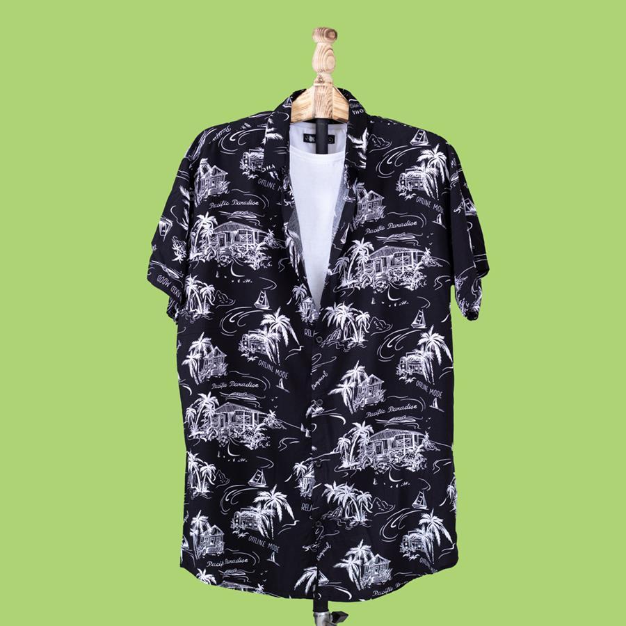 پیراهن هاوایی Cammon مدل 1458_رنگ مشکی