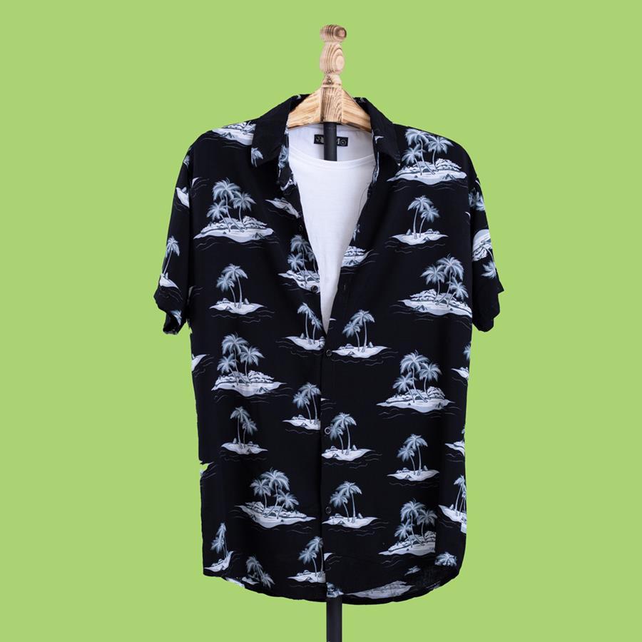 پیراهن هاوایی Adis مدل 1459_رنگ مشکی