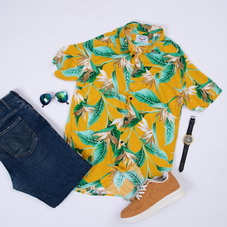 پیراهن هاوایی Raha مدل 1468_رنگ زرد