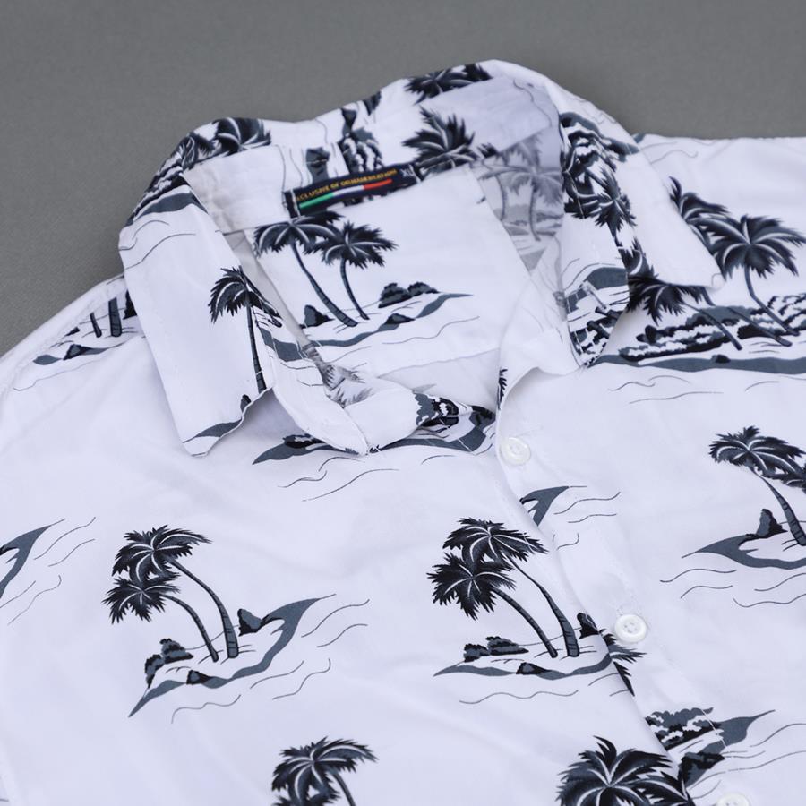 پیراهن هاوایی Plaz مدل 1470_رنگ سفید