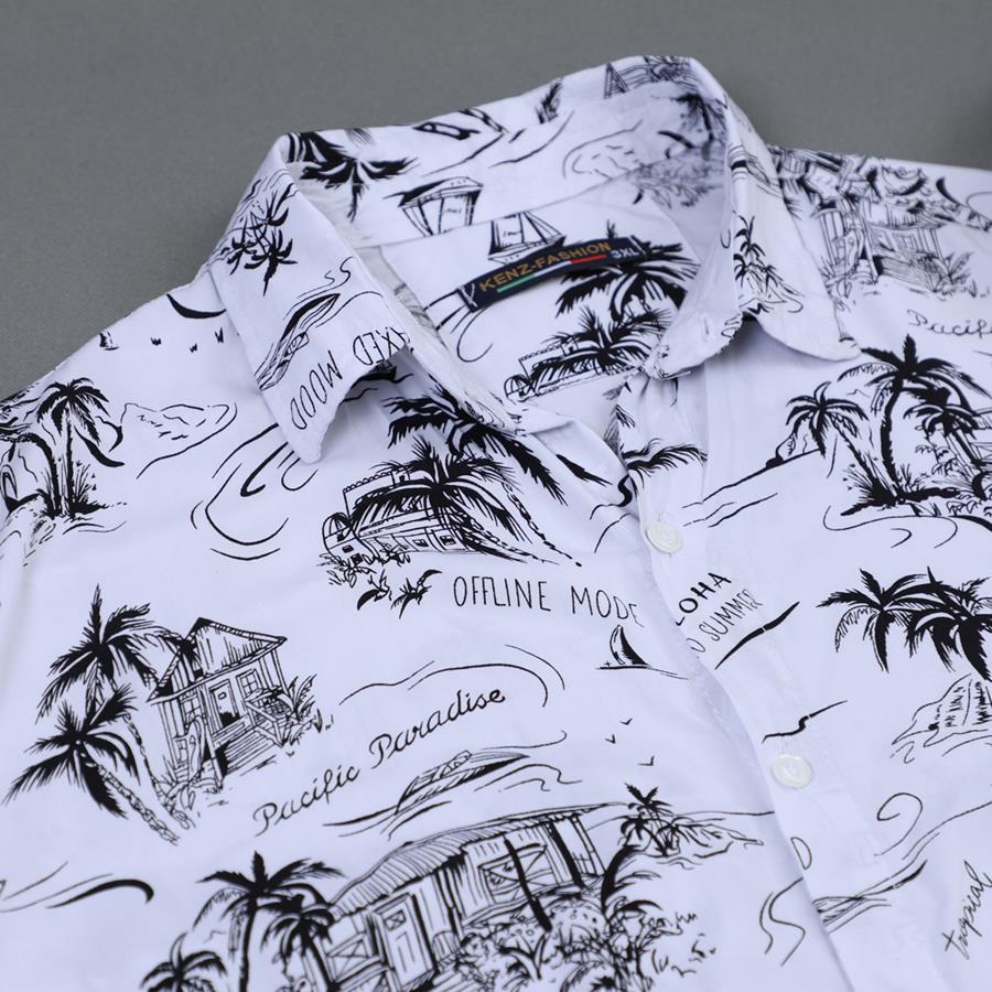 پیراهن هاوایی Reman مدل 1471_رنگ سفید