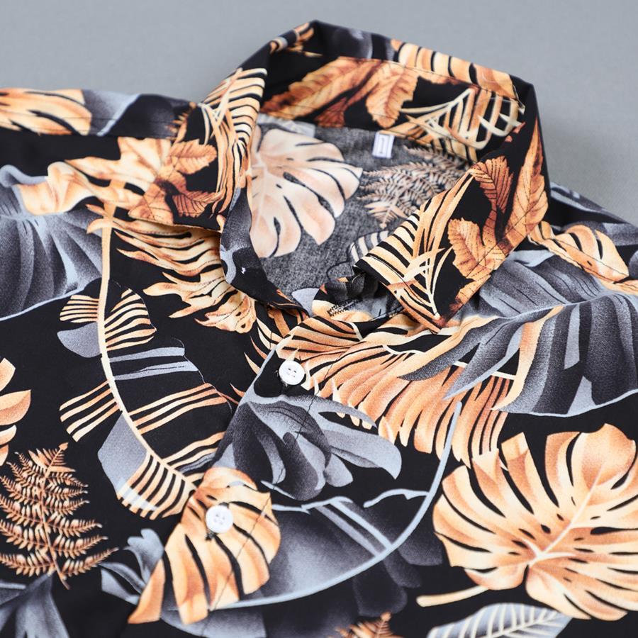 پیراهن هاوایی Saran مدل 1474_رنگ مشکی