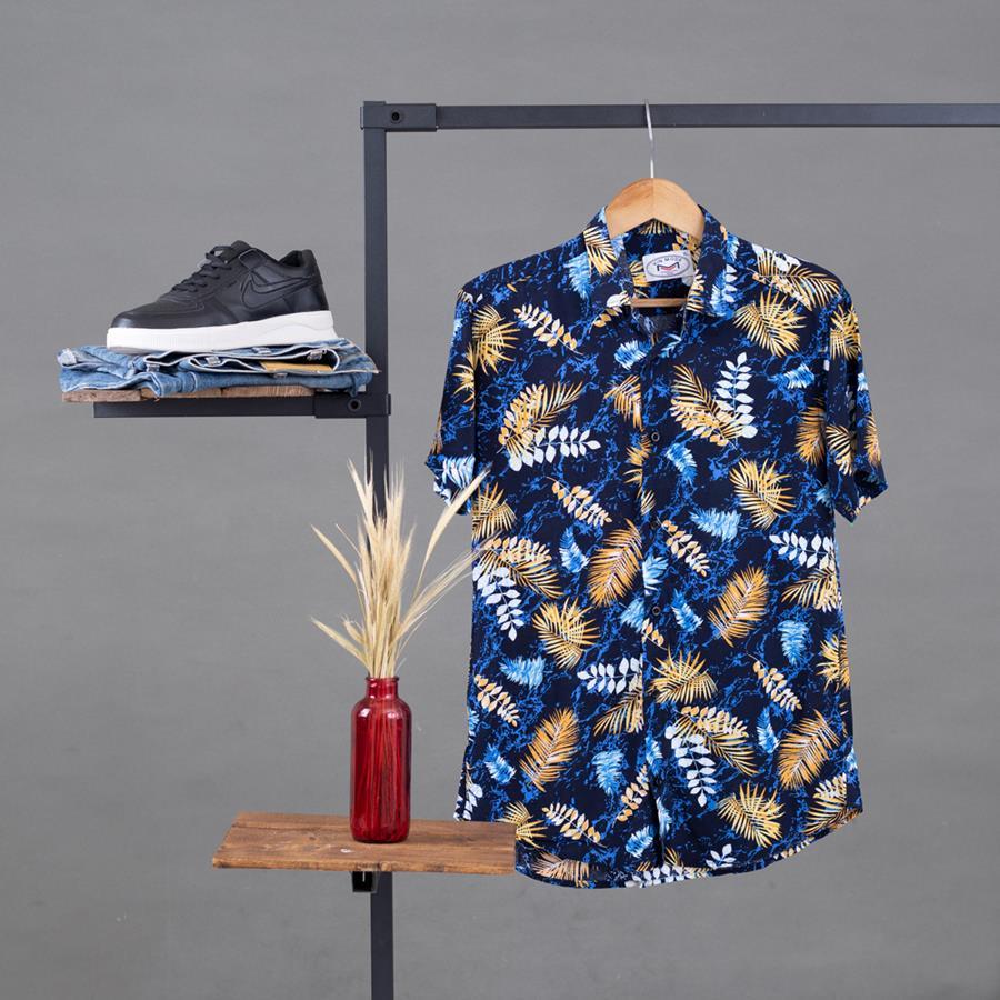 پیراهن هاوایی Afman مدل 1475_رنگ مشکی