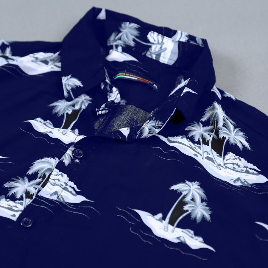 پیراهن هاوایی Kiaman مدل 1507_رنگ سرمه ای