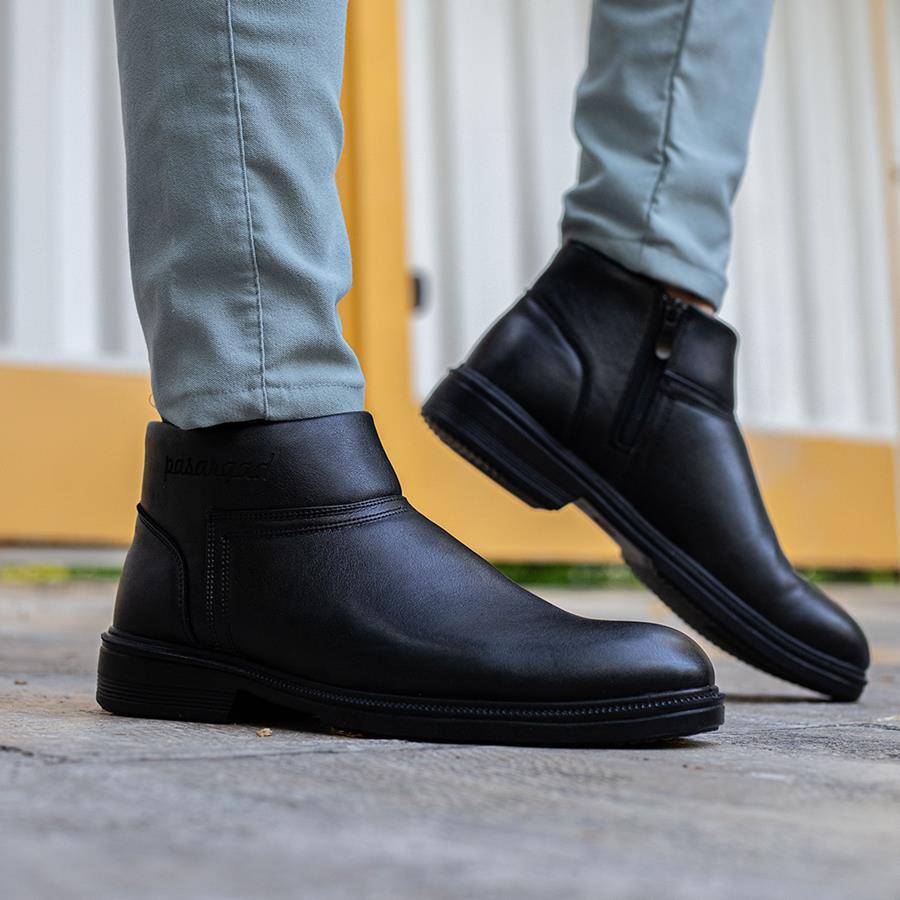 کفش نیم بوت چرم مردانه Klasid مدل 1508_رنگ مشکی