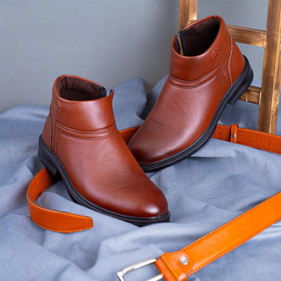 کفش نیم بوت چرم مردانه Taran مدل 1509_رنگ قهوه ای زرشکی