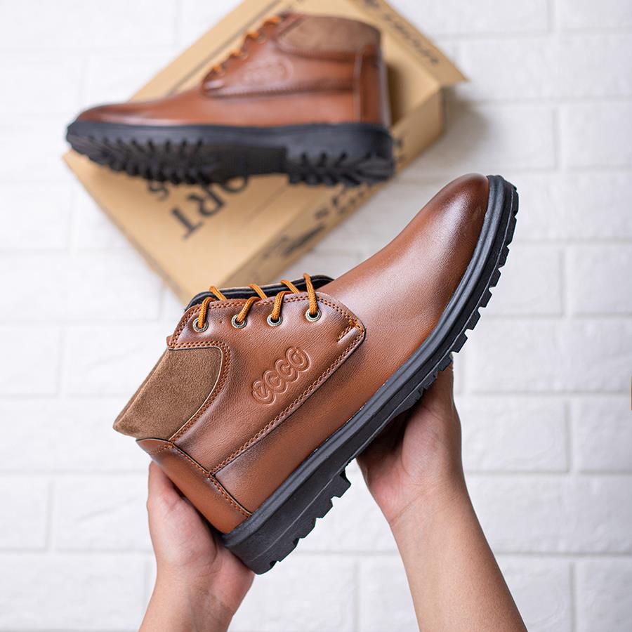 کفش نیم بوت مردانه EccoBrown مدل 1531_رنگ عسلی تیره